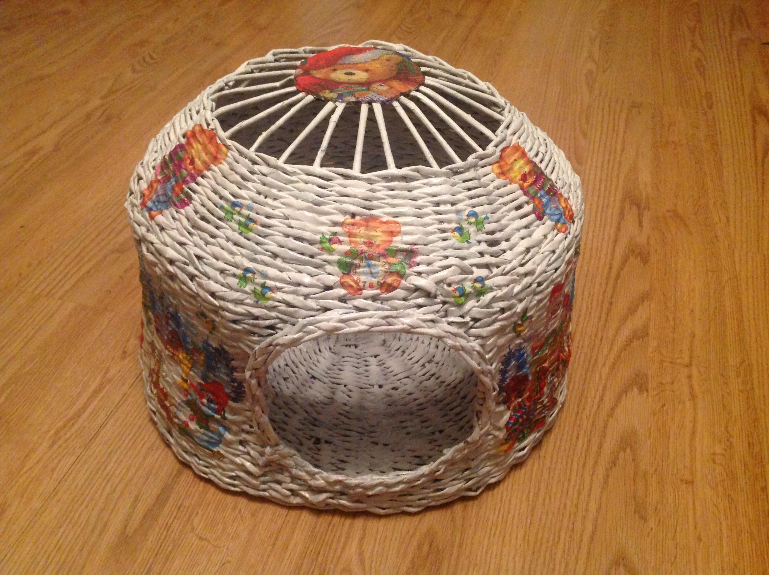 Поделка изделие Плетение Чайный домик Плетение из газет 66